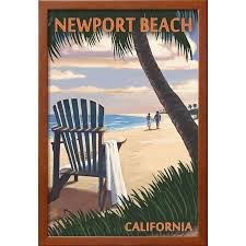 adirondack chairs on beach sunset. Fine Beach Newport Beach California  Adirondack Chairs And Sunset Framed Print Wall  Art By Lantern Press Throughout On Beach N
