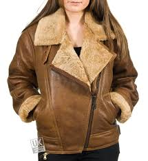women s vintage tan sheepskin flying jacket sienna front