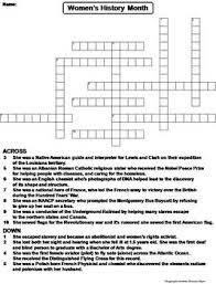 Womens History Month Worksheet Crossword Puzzle By Science Spot