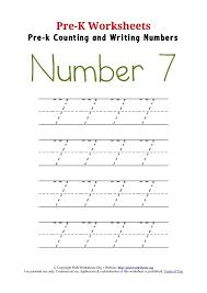 Writing Number 7 Worksheet | Pre K Worksheets Org