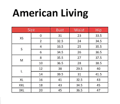 Us 0 Size Chart American Living Clothing Size Chart Size Chart American