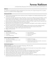 Business Management Resume Objective Resume Templates Project Manager Project Management Resume