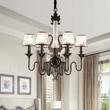 modern contemporary 6 light steel chandelier with acrylic shade for living room corridor
