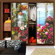 sliding glass door decals decorative self adhesive static cling frosted stained window translucent bathroom landscape