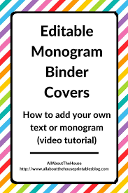 Free Editable Binder Covers And Spines Personalising Editable Monogram Binder Covers All About
