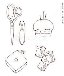おしゃれ裁縫セット 線画のイラスト素材 28121649 Pixta