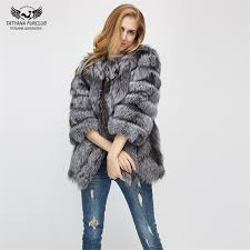 best quality tatyana furclub fur coat winter coat warm natural silver fox fur coat long style outerwear womens fashion fur coat plus size