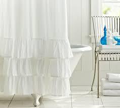 Plain White Ruffle Shower Curtain H And Creativity Ideas