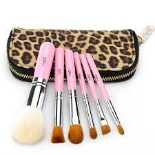 msq 6pcs set mini hair brush bulk leopard brushes bag case purple make up