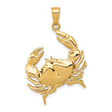 14k yellow gold stone crab claw extended pendant charm necklace sea life lobster man fine jewelry gift for dad mens for him