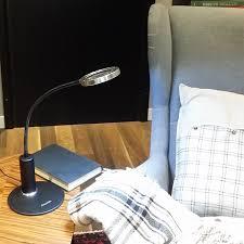 amazlab dl4b steel dual lens flexible magnifier led desk lamp