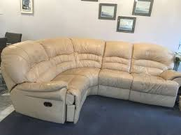 leather 4 seater curved sofa