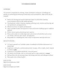 Custodian Resume Sample Sample Resume For Custodian Job Janitorial ...
