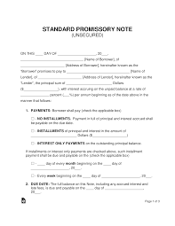 Promissory Note Word Template Free Unsecured Promissory Note Template Word Pdf