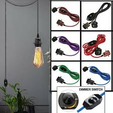 4 5m fabric cable uk plug pendant lamp