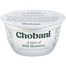 chobani a hint of wild blueberry low fat blended greek yogurt