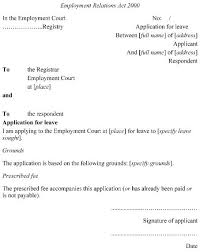 Application For Leave Form Delectable Employment Court Amendment Regulations 48 SR 4848 Schedule