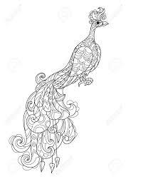 禅芸術様式化された孔雀の花手描き落書き自由奔放に生きるベクトル イラストタトゥーや反応力大人塗り