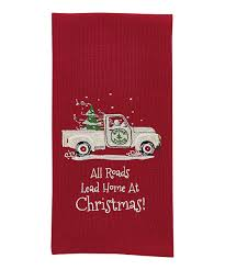 all roads lead home embroidered dish towel set of two