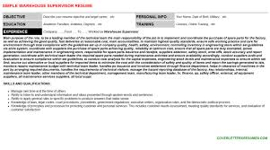 Warehouse Supervisor Cover Letter Example Warehouse Supervisor Cv Cover Letter Resume Template