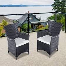 outsunny 2pcs rattan chair set garden wicker seat outdoor patio furniture coffee
