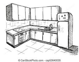 Sketch Cuisine Plan Kitchen Vector Illustration In A Sketch Style