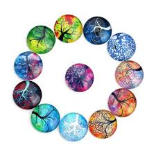 <b>20pcs</b>/<b>lot</b> 10/12/<b>14mm</b> Tree Of Life Glass Crystal Cabochon Dome ...