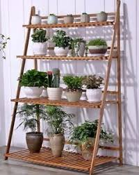 multi shelf plant stand. Image Is Loading BAMBOOWOODENSHELFPLANTSTANDFOLDINGMULTITIER Intended Multi Shelf Plant Stand