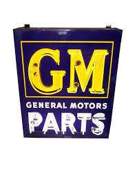 striking 1940s 50s gm general motors parts single sided neon porcelain dealership sign