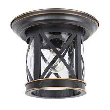 imperial black 1 light outdoor ceiling mounted flush mount light