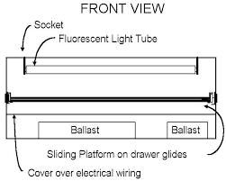 cyanotype process procedure diagram of light box ballast at bottom