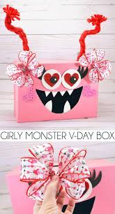 Making valentine's day boxes for boys isn't the easiest task since boys aren't usually into hearts and doilies, including my two boys. Make A Girly Monster Valentine S Day Box For The Classroom Girls Valentines Boxes Monster Valentines Valentine Day Boxes
