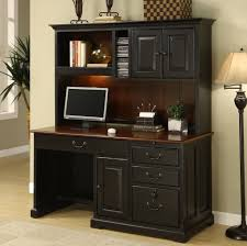 Furniture: Awesome Black Computer Desk With Hutch Combined With Decorative  Floor Lamp - Computer Hutch