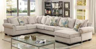 nailhead sectional sofa. Modren Sectional Furniture Of America CM6156 3 Pc Skyler Ivory Fabric Sectional Sofa With Nail  Head Trim Accents With Nailhead Sectional Sofa R