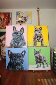 viana s frenchie 60x60 oil on canvas by drago milic french bulldog