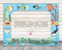 printable fish photo booth frame 32 x 42 fishies ocean party photo booth prop