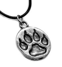 totem spirit wolf paw print necklace