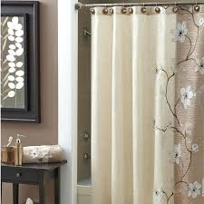smlf beige shower curtains with extra long shower curtain liner and dark table for modern bathroom design