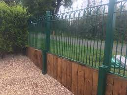 wrought iron style metal garden fencing