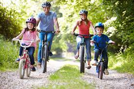 family outdoor activities. Family Going On A Bike Ride - One Of The Fun And Inexpensive Spring Activities To Outdoor