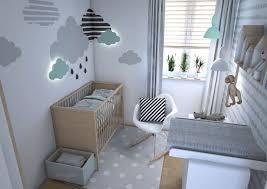 quelles couleurs ocier pour une deco chambre bebe scandinave chambre avec décoration murale en nuages 3d et meubles de bois clair