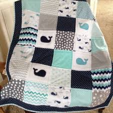 Shop Whale Quilt on Wanelo & Baby Whale quilt in teal, navy and white with navy border Adamdwight.com