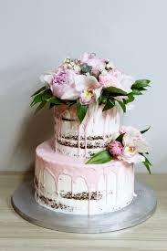 Semi Naked 2 Tiered Cake With Pink Floral Combination By Kaia Cakes