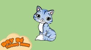 Bé tập vẽ tranh con vật | Hướng dẫn học vẽ con mèo bằng bút chì | Dạy bé  thông minh - YouTube