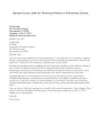 Elementary Teacher Cover Letter If Application Teaching