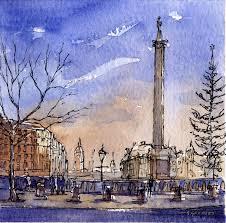 steve greaves trafalgar square landscape painting in ink watercolour