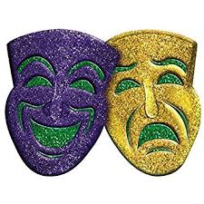 Mardi Gras Mask Decorations Amazon Amscan 60D Glitter Comedy Tragedy Mardi Gras Party 2