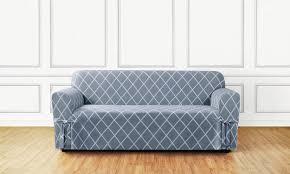 blue white lattice sofa slip cover
