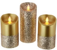 Candle Impressions Mirage Gold S/3 Pearlized Glitter Pillars - H213345