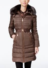 faux fur collar belted down coat vince camuto